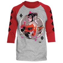 Image: DC Batman Raglan: Harley Q [Heather/Red]  (XXL) - Trevco Sportswear