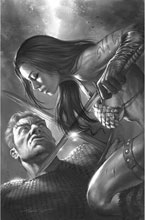 Image: Red Sonja: The Superpowers #4 (incentive 1:50 cover - Parrillo B&W virgin) - Dynamite
