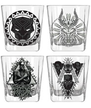 Image: Marvel Heroes 4-Piece Glass Set: Black Panther Wakanda  (9-ounce) - Silver Buffalo