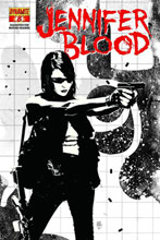 Image: Garth Ennis' Jennifer Blood #8 (10-copy Bradstreet B&W incentive cover) (v10) - Dynamite