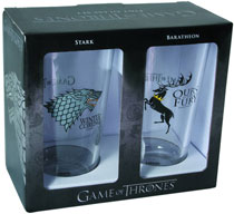Image: Game of Thrones Pint Glass Set: Stark & Baratheon  - Dark Horse Comics