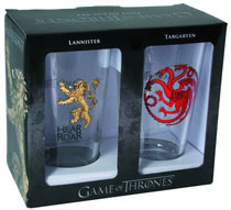 Image: Game of Thrones Pint Glass Set: Targaryen & Lannister  - Dark Horse Comics
