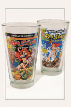 Image: Women of Dynamite Pint Glass Set: Red Sonja  (2-Piece) - Dynamite