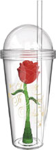 Image: Beauty & Beast Treasure Clear Plastic Tumbler with Straw  - Zak Designs
