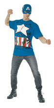 Image: Marvel T-Shirt w/Mask: Captain America  (XL) - Rubies Costumes Company Inc