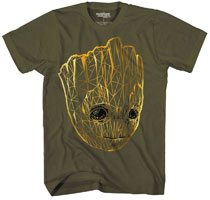 Image: Guardians of the Galaxy T-Shirt: Groot Line Glow-in-the-Dark [Military Green]  (M) - Mad Engine