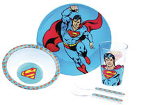 Image: DC Kids Meal-Time Set: Superman  (5-Piece) - Bumkins Finer Baby Products