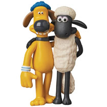 Image: Wallace & Gromit Ultra Detail Figure: Shaun & Bitzer  - Medicom Toy Corporation