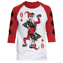 Image: DC Raglan T-Shirt: Batman - Quinn of Diamonds [White/Red]  (S) - Trevco Sportswear