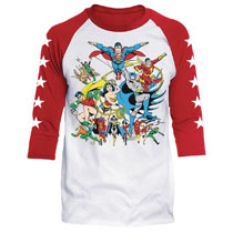 Image: DC Raglan: Justice League Assemble [White/Red]  (L) - Trevco Sportswear
