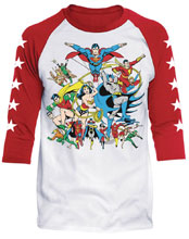 Image: DC Raglan: Justice League Assemble [White/Red]  (XL) - Trevco Sportswear