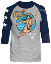 Image: DC Raglan: Wonder Woman Vintage [Heather/Navy]  (XL) - Trevco Sportswear