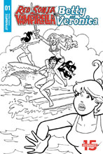 Image: Red Sonja and Vampirella Meet Betty and Veronica #1 (incentive cover - Parent B&W) (10-copy) - Dynamite