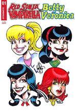 Image: Red Sonja & Vampirella Meet Betty & Veronica #1 (variant cover - 4 Character remarked) - Dynamite