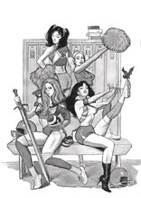 Image: Red Sonja & Vampirella Meet Betty & Veronica #1 (DFE variant cover - Dalton B&W) - Dynamic Forces
