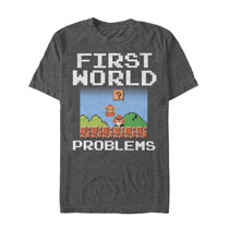 Image: Super Mario T-Shirt: First World Problems  (S) - Fifth Sun