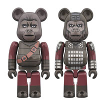 Image: Planet of the Apes Bearbrick 2-Pack: General Ursus & Soldier Ape 100  - Medicom Toy Corporation