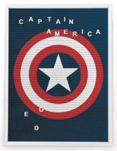 Image: Marvel Felt Letter Board Wall Art: Captain America  (13x17.5 inch) - Cohen Hazan Group LLC
