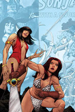 Image: Vampirella / Red Sonja #9 (incentive 1:30 cover - Moss virgin) - Dynamite