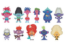 Image: Trolls World Tour Blind Mystery Box Display: 3D Foam Bag Clip  (24 Pieces) - Monogram Products