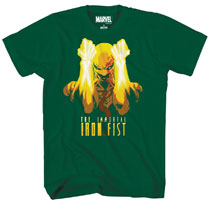 Image: Marvel T-Shirt: Fists a Flame [Forest Green]  (XL) - Mad Engine