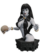Image: Women of Dynamite Resin Bust: Vampirella by Arthur Adams  (black & white variant) - Dynamite