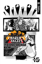 Image: Charlie's Angels vs. the Bionic Woman #1 (incentive cover - Mahfood B&W) (10-copy)  [2019] - Dynamite