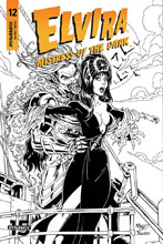 Image: Elvira: Mistress of the Dark #12 (incentive cover - Royle B&W) (20-copy) - Dynamite
