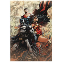 Image: DC Heroes Wall Art - Wood: Justice League  (19-inch) - Open Road Brands LLC