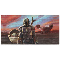 Image: Star Wars: The Mandalorian Wood Art - Sunset with Grogru  (6.5-inch) - Open Road Brands LLC