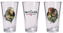 Image: Witcher Pint Glass Set: Geralt & Triss with Yennefer  - Dark Horse Comics