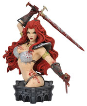 Image: Women of Dynamite Resin Bust: Red Sonja by Arthur Adams  (Blood Splattered Variant)) - Dynamite