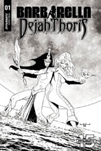 Image: Barbarella / Dejah Thoris #1 (incentive cover - Qualano B&W) (50-copy) - Dynamite