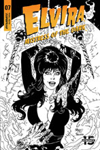 Image: Elvira: Mistress of the Dark #7 (incentive cover - Royle B&W) (20-copy) - Dynamite