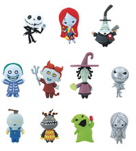 Image: Nightmare Before Christmas 25th Anniversary 3D Figural Keyring 24-Piece Blind Mystery Box Display  - Monogram Products