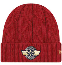 Image: Marvel Cable Knit Cuff Beanie: Captain Marvel Symbol  - New Era Cap Co