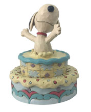 Image: Charlie Brown Figure: Snoopy Jumping Out of Cake  - Enesco Corporation