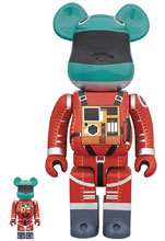 Image: 2001 A Space Odyssey BearBrick 2-Pack: Orange Space Suit  (100 & 400) - Medicom Toy Corporation