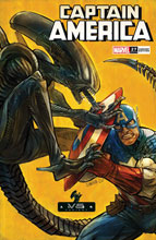 Image: Captain America #27 (variant Marvel vs. Alien cover - Shavrin) - Marvel Comics