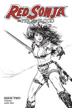 Image: Red Sonja: Price of Blood #2 (incentive 1:10 cover - Golden B&W) - Dynamite