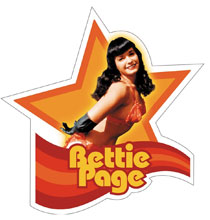 Image: Bettie Page Sticker: Bettie in Orange Star  (Die-Cut) -