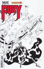 Image: Miss Fury #9 (25-copy incentive cover - Tan B&W) - Dynamite