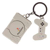 Image: Sony Playstation Keychain: Console and Controllers  - Bioworld Merchandising