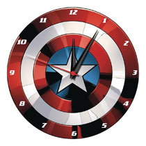 Image: Marvel Wall Clock: Captain America Shield  (13.5-Inch) (Wood) - Vandor LLC
