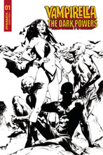 Image: Vampirella: The Dark Powers #1 (incentive 1:30 cover - Lee B&W Demons) - Dynamite
