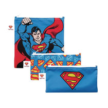 Image: DC Comics Reusable Snack Bag Set: Superman  (3-Pack) - Bumkins Finer Baby Products