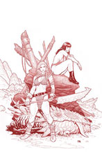 Image: Vampirella / Red Sonja #3 (variant Ultra Ltd cover - Cho Fiery Red Lineart) - Dynamite