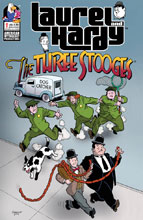 Image: Laurel & Hardy Meet Three Stooges #1 (cover A - Shanower) - American Mythology Productions