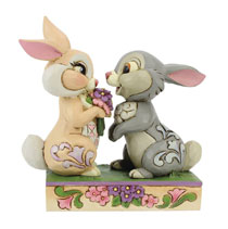 Image: Disney Jim Shore Figure: Bambi - Thumper & Blossom  (4-inch) - Enesco Corporation